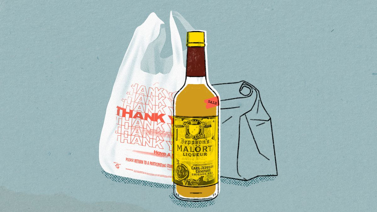 """Drawing of a """"Thank You"""" plastic shopping bag and a bottle of Malort"""