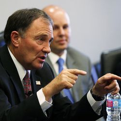 Gov. Gary Herbert answers questions from the Deseret Media Companies Editorial Board in Salt Lake City on Monday, May 23, 2016.