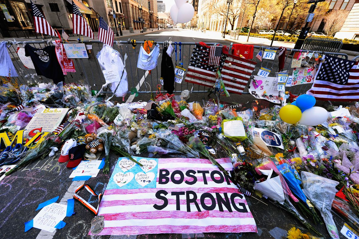 A memorial for the victims of the Boston Marathon bombing.