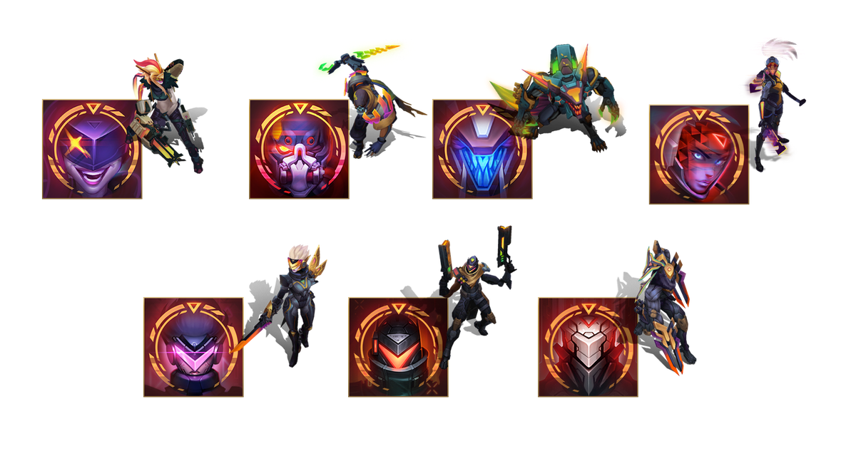 The Reckoning chromas and icons for Project: Jinx, Pyke, Warwick, Akali, Fiora, Lucian, and Zed