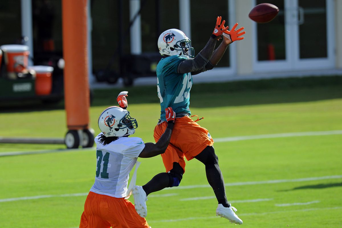 July 27 2012; Davie, FL, USA; Miami Dolphins wide receiver Davone Bess (right) hauls in a catch in from of defensive back Richard Marshall (left) during practice at the Dolphins training facility. Mandatory Credit: Steve Mitchell-US PRESSWIRE