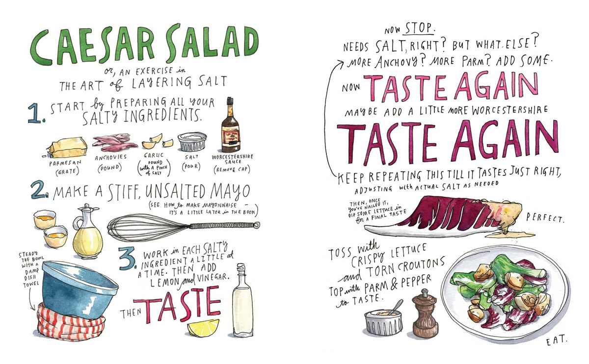 an interior spread from Salt, Fat, Acid, Heat showing an illustrated recipe for caesar salad