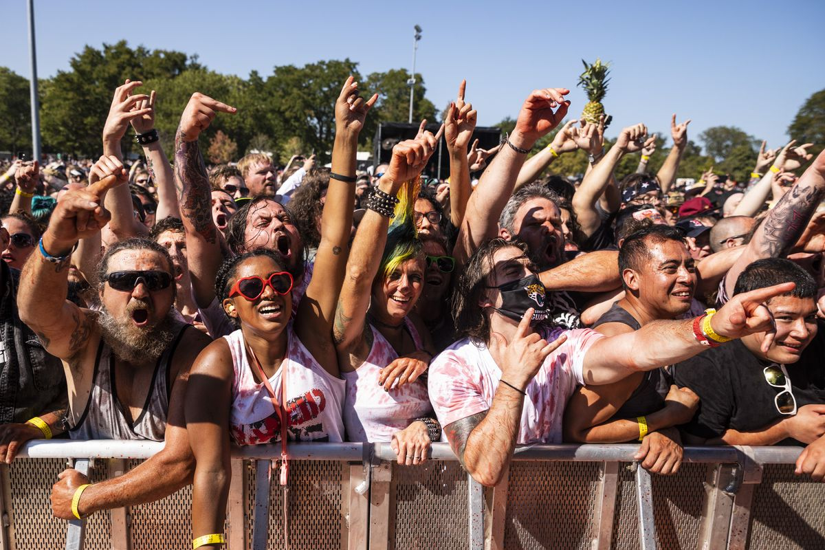 Fans cheer as Gwar performs on Day 3 of Riot Fest in Douglass Park, Saturday afternoon, Sept. 18, 2021.