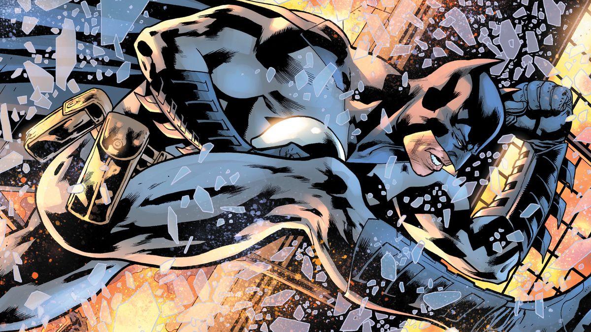 Batman leaps through a window to escape an explosion in The Batman's Grave #3, DC Comics (2019).