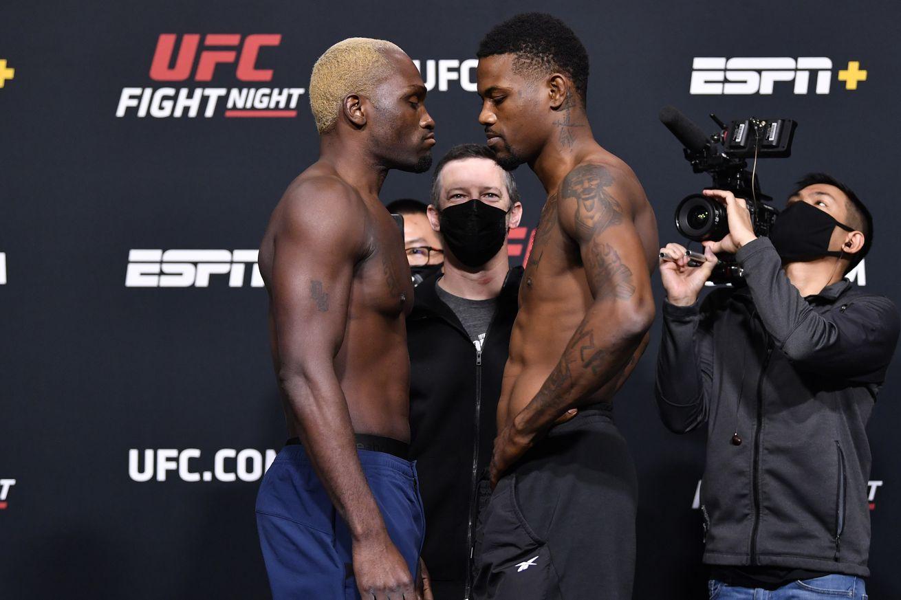 Derek Brunson and Kevin Holland at UFC Vegas 22 weigh-ins