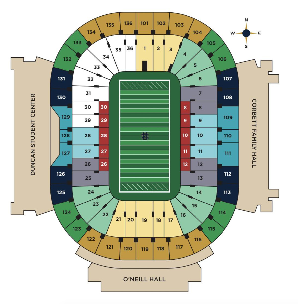 Ticket prices and seating info for the 2019 notre dame football