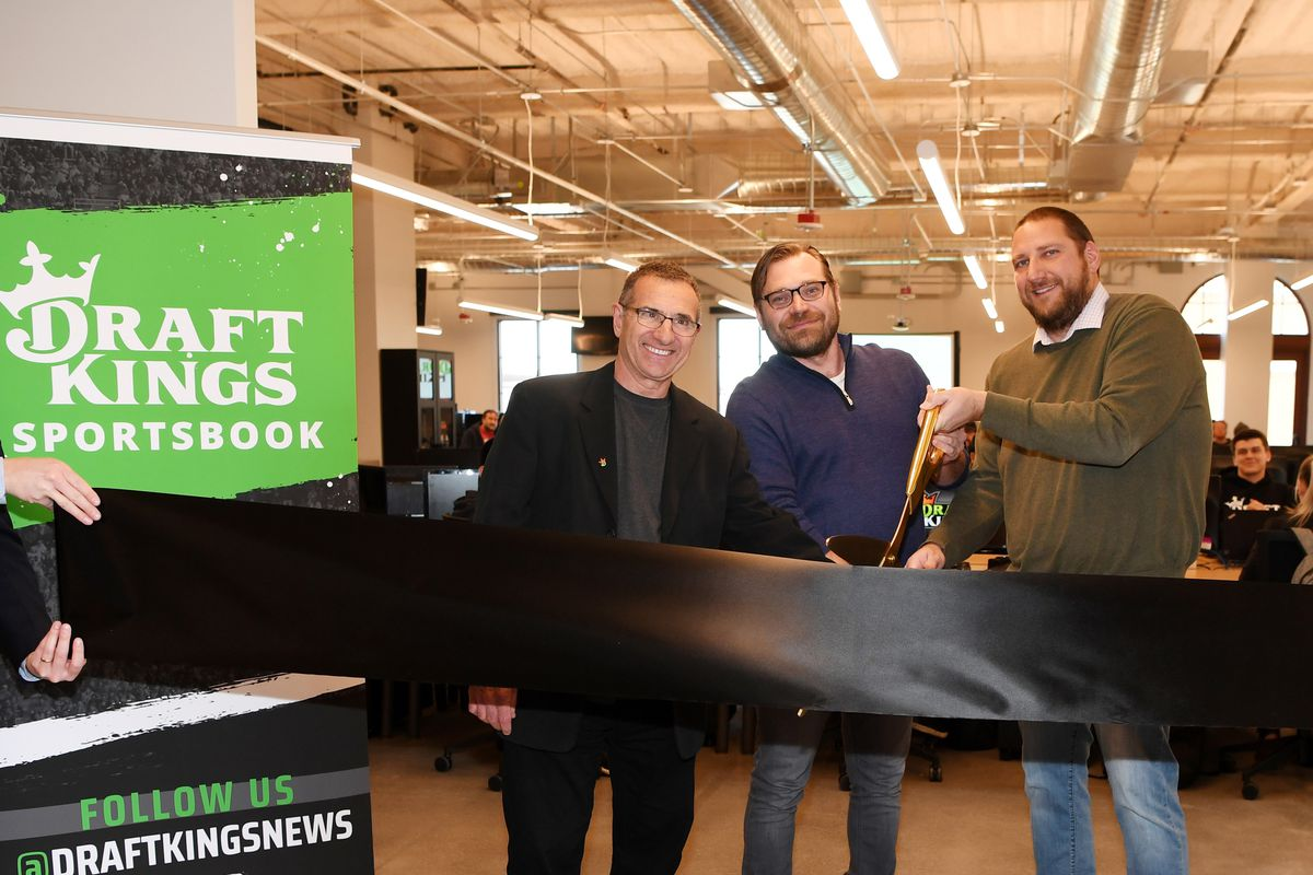 Director of Race and Sportsbook Operations Johnny Avello, President of DraftKings North America and Co-Founder Matt Kalish and Head of Retail Operations Frank Kunovic during the ribbon cutting and office opening celebration January 15, 2020 in Las Vegas, Nevada.