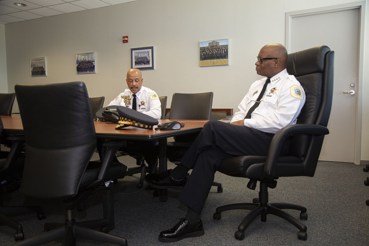 Chicago Police Superintendent David Brown, right, and First Deputy Superintendent Eric Carter at Chicago Police Headquarters on Friday, Aug. 7, 2020. Brown's promotion of Carter on July 15 meant for the first time in CPD's 185-year history, its three highest-ranking officers are African-American. | Anthony Vazquez/Sun-Times