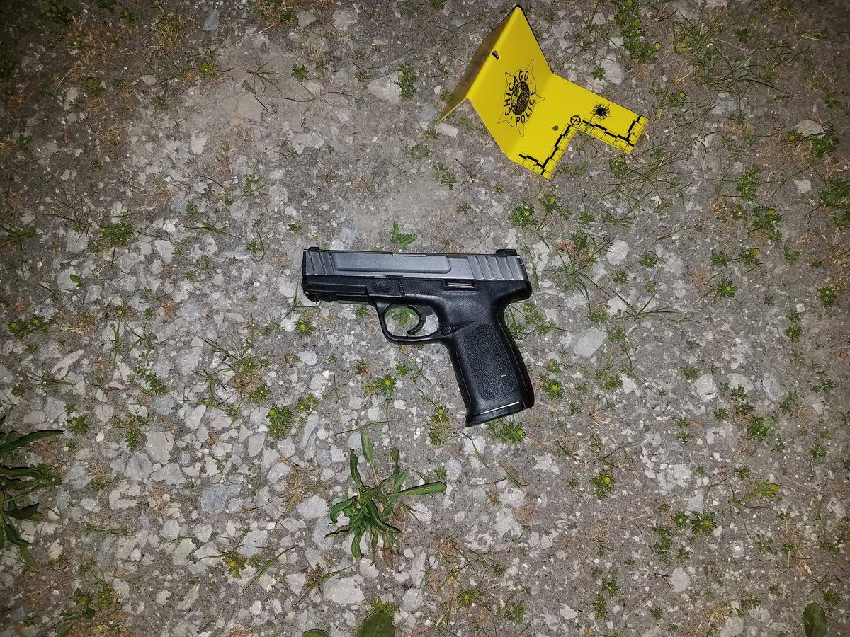 Officers recovered a gun at the scene of a police-involved shooting Wednesday in Bronzeville, according to a police spokesman.   Anthony Guglielmi/Twitter