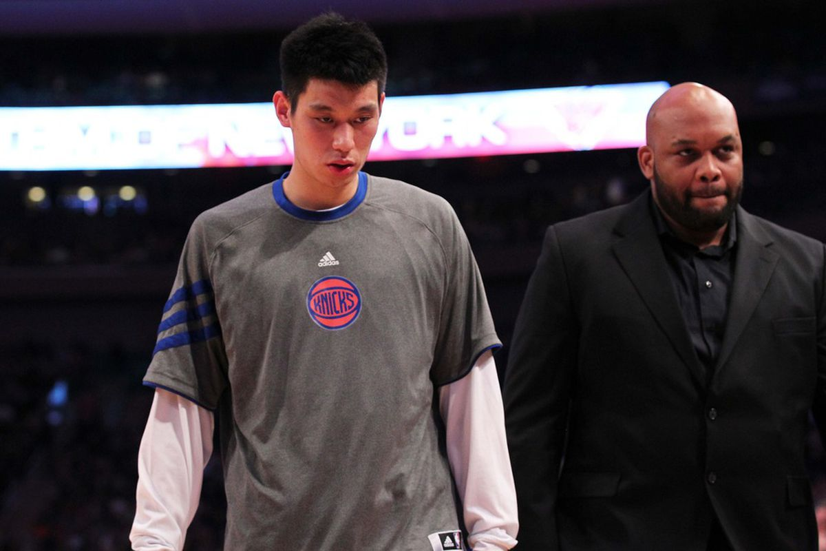 Mar 24, 2012; New York, NY, USA; New York Knicks point guard Jeremy Lin (17) leaves the game during the third quarter against the Detroit Pistons at Madison Square Garden. Knicks won 101-79.  Mandatory Credit: Anthony Gruppuso-US PRESSWIRE
