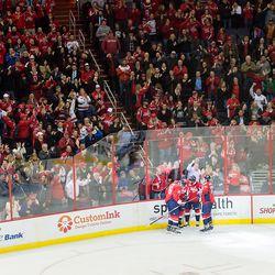 Capitals and Fans Celebrate a Goal By Laich
