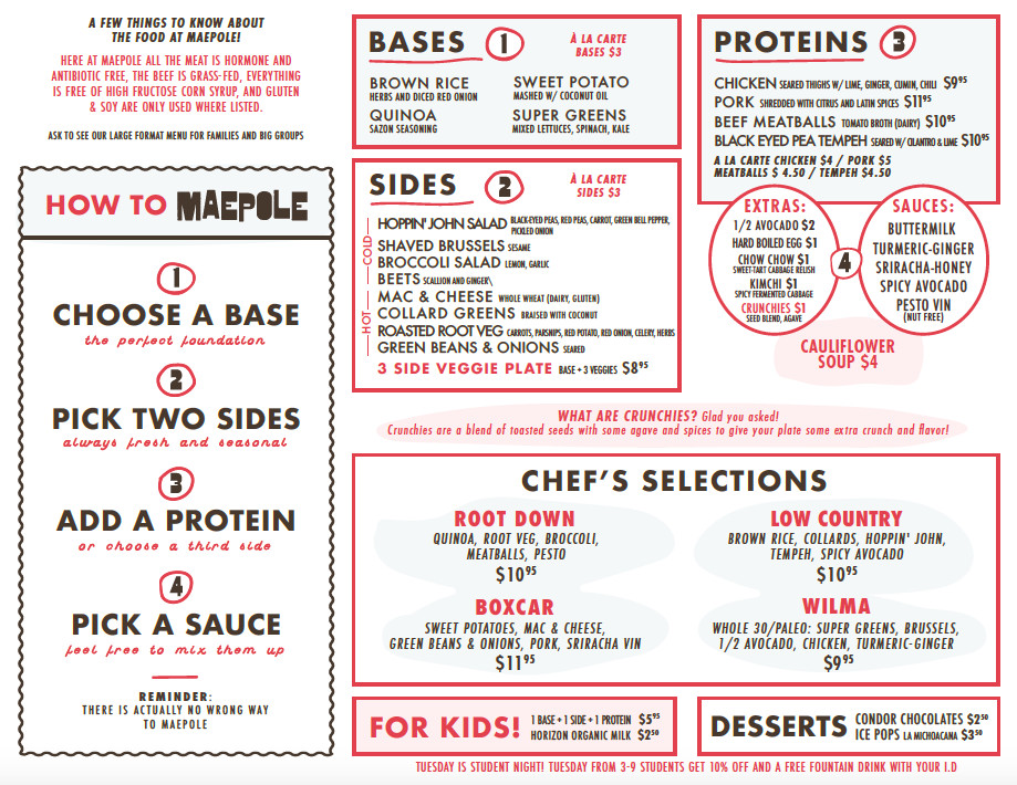 The menu for Maepole, opening in Summerhill, Atlanta, in late 2020