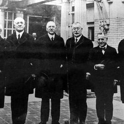 Utah's first five governors and one territorial governor. This photo was taken shortly after the inauguration of Charles R. Mabey. From left, Arthur Thomas, 1890's territorial governor, Heber M. Wells, John Cutler, William Spry, Simon Bamberger and Charles Mabey. Mabey served as governor from 1921 to 1925.