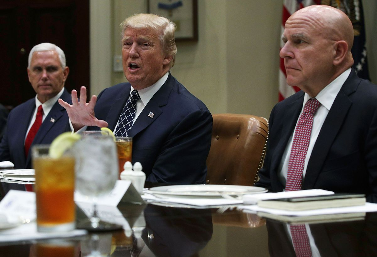 President Donald Trump sits next to former National Security Adviser H.R. McMaster — who advocated for military options to strike North Korea — on July 18, 2017.