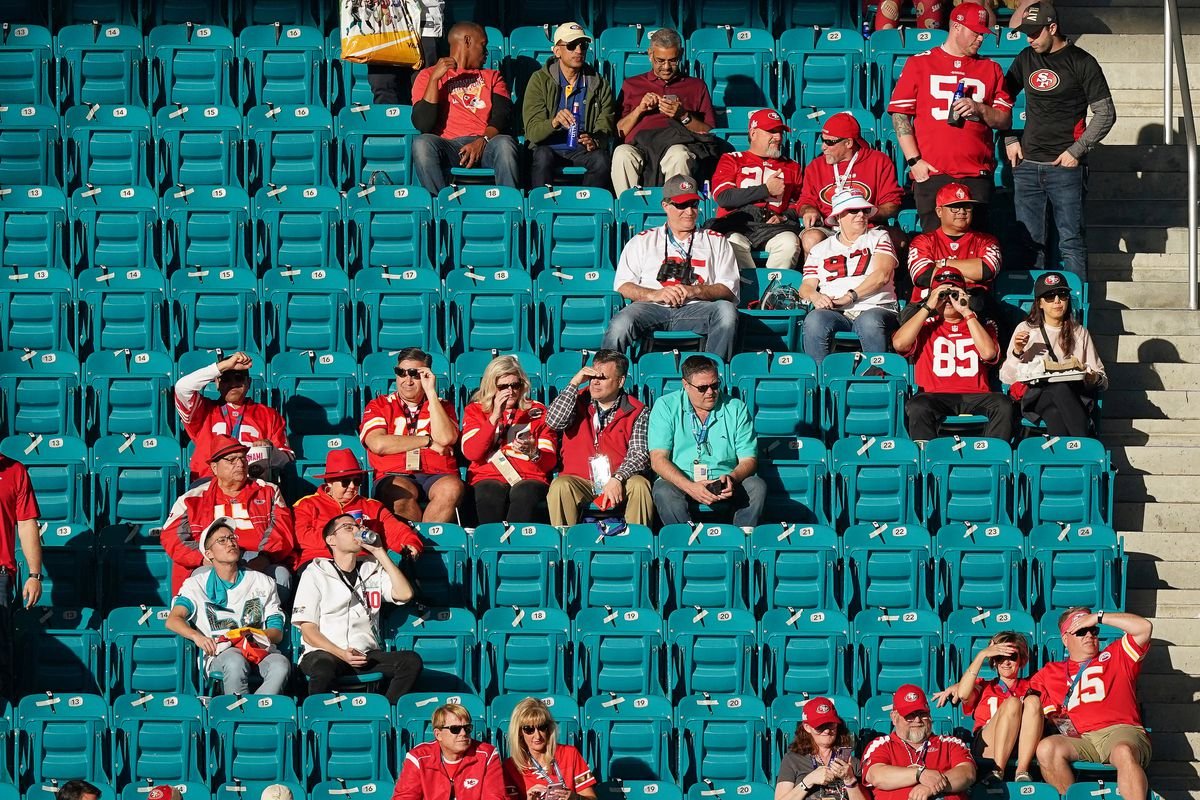 San Francisco 49ers and Kansas City Chiefs fans look on in game action during the Super Bowl LIV game between the Kansas City Chiefs and the San Francisco 49ers on February 2, 2020 at Hard Rock Stadium, in Miami Gardens, FL.