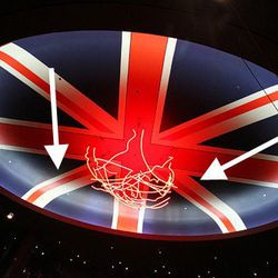 These are the two stripes that need to be fixed on the Union Jack at Gordon Ramsay Steak.