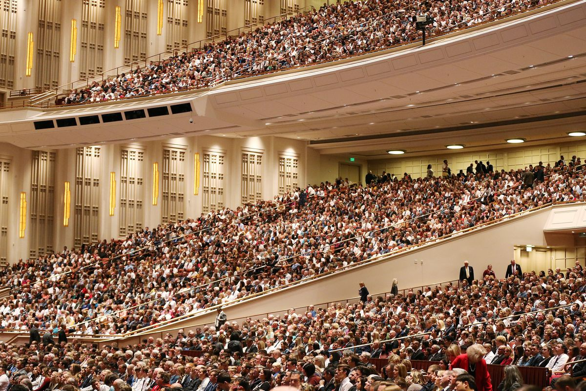 Attendees listen during the 188th Semiannual General Conference of The Church of Jesus Christ of Latter-day Saints in Salt Lake City on Saturday, Oct. 6, 2018.