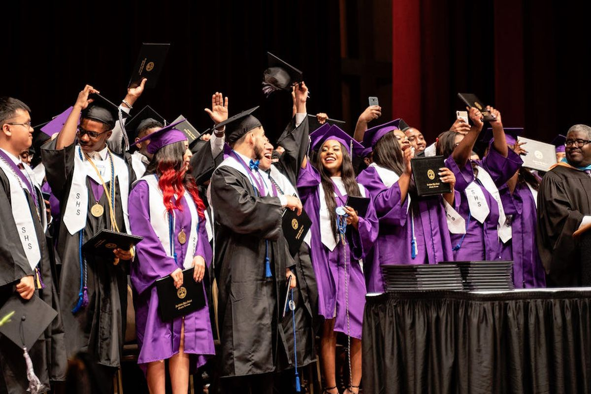 Southwind High School's Class of 2019 celebrates its graduation in May in Memphis. The Shelby County school finished with a 2019 graduation rate of more than 85%.
