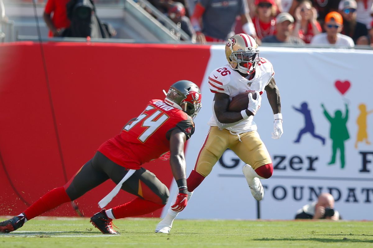 Tevin Coleman of the San Francisco 49ers rushes during the game against the Tampa Bay Buccaneers at Raymond James Stadium on September 8, 2019 in Tampa, Florida.