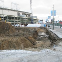 View of the trench along the Clark side of the triangle lot
