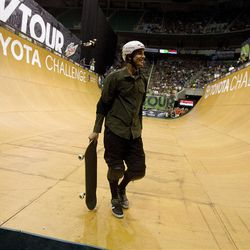 Bob Burquist of Brazil leaves the ramp in the skateboarding vert final at Energy Solutions Arena for the Salt Lake City stop of the Dew Tour on Saturday, Sept. 10, 2011.