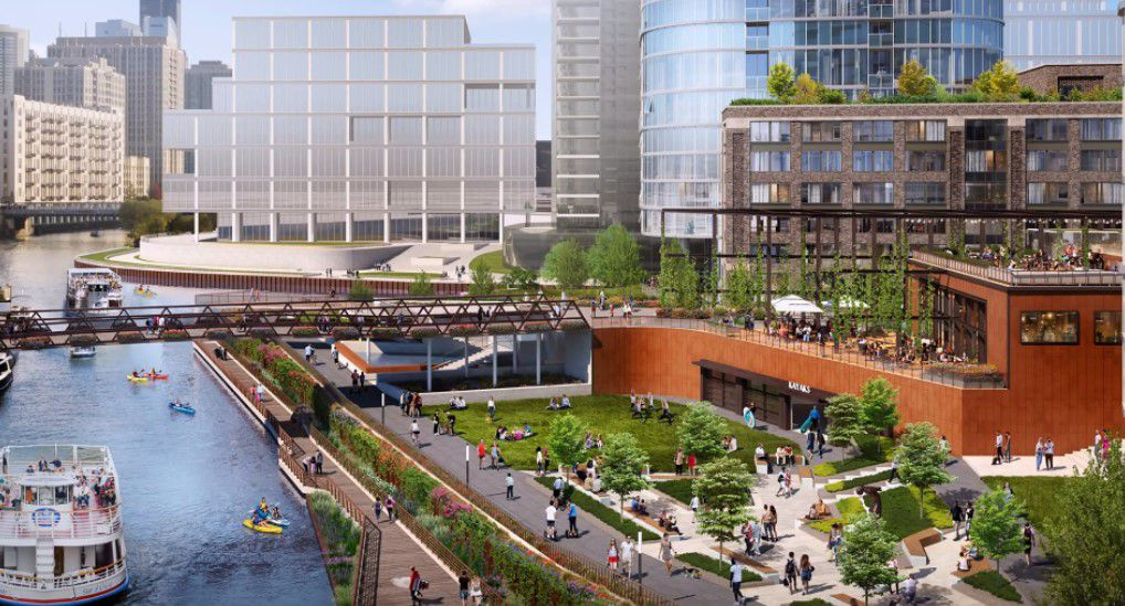 A rendering of a terrace planned on Goose Island  with a pedestrian bridge over the canal.