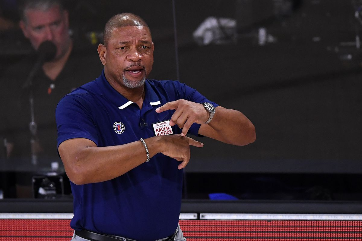 Doc Rivers of the LA Clippers during the first quarter against the Denver Nuggets in Game Two of the Western Conference Second Round during the 2020 NBA Playoffs at AdventHealth Arena at the ESPN Wide World Of Sports Complex on September 05, 2020 in Lake Buena Vista, Florida.