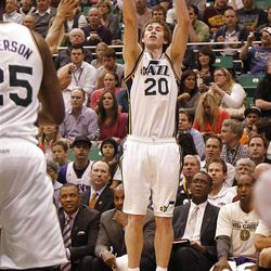 Utah's Gordon Hayward as the Utah Jazz are defeated by the Phoenix Suns 107-105 as they play NBA basketball Wednesday, April 4, 2012, in Salt Lake City, Utah.
