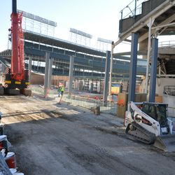 Another view of the new vertical steel columns in right field -