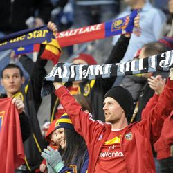 A small section of Real Salt Lake fans made the trek to Sporting Park in Kansas City, Kan., on Saturday, April 5, 2014.