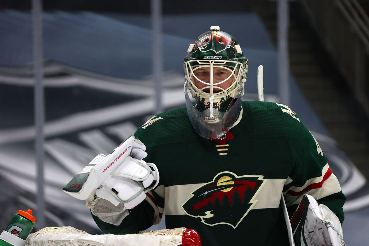 EDMONTON, ALBERTA - JULY 29: Goaltender Devan Dubnyk #40 of the Minnesota Wild looks on during an exhibition game against the Colorado Avalanche prior to the 2020 NHL Stanley Cup Playoffs at Rogers Place on July 29, 2020 in Edmonton, Alberta.