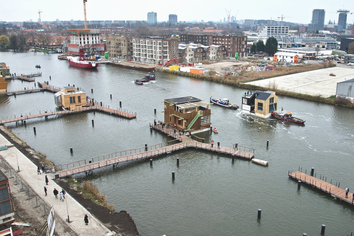 Floating houses on canal