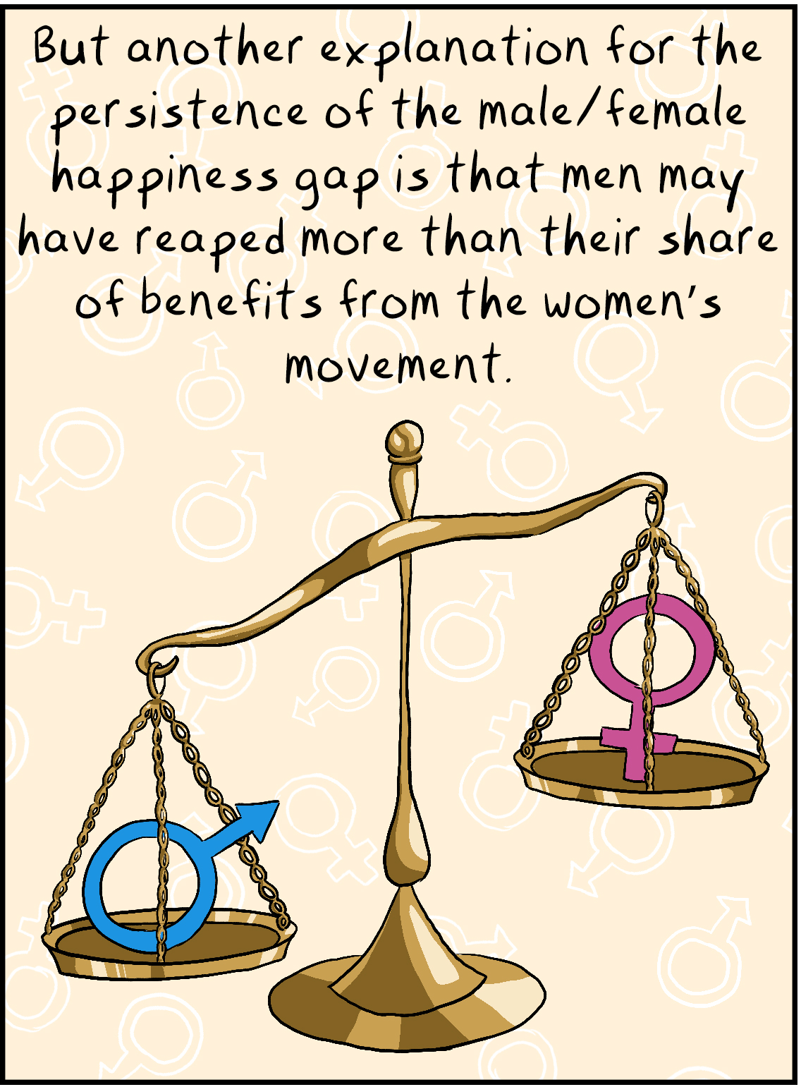 But another explanation for the persistence of the male/female happiness gap is that men may have reaped more than their share of benefits from the women's movement.
