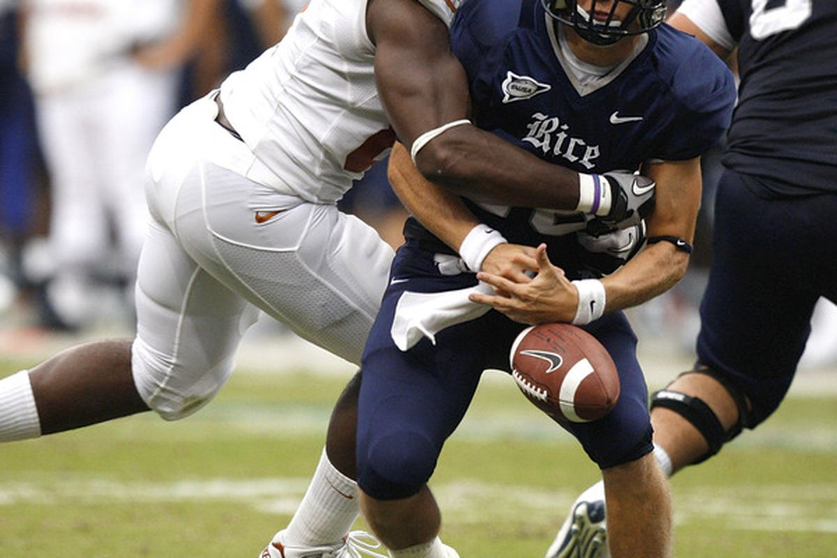There's an awful amount of pictures of Rice players looking really silly.