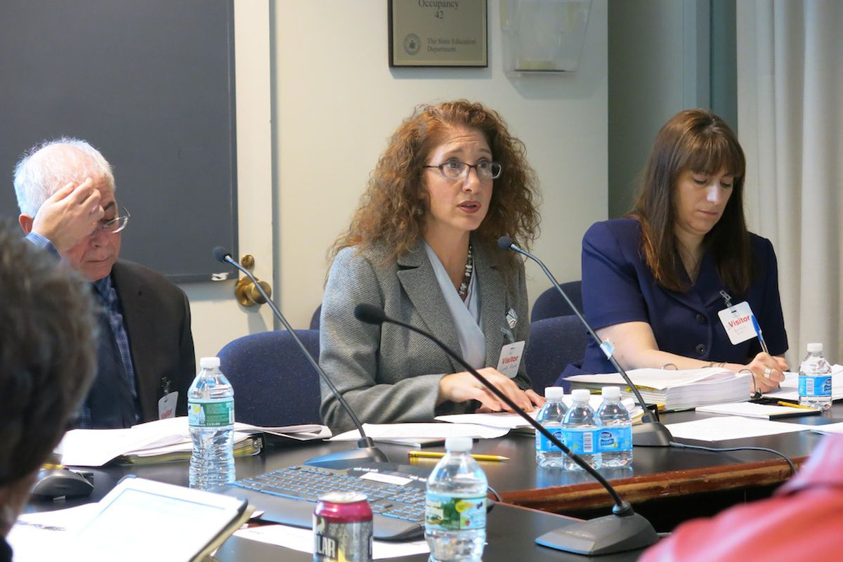 Laura Feijoo, a senior superintendent in the department's Office of School Support, presents to the Board of Regents.