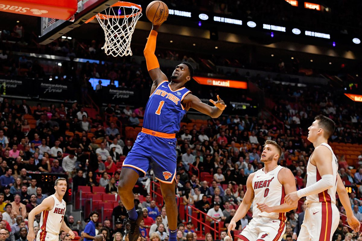 New York Knicks forward Bobby Portis dunks the ball against the Miami Heat during the first half at American Airlines Arena.