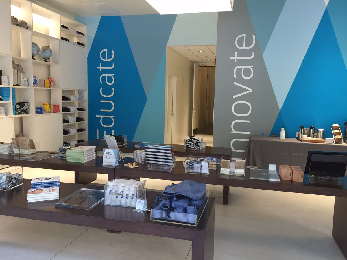 The gift-shop lobby of the Nasdaq Entrepreneurial Center