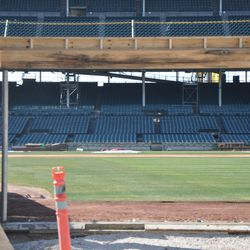 Right-field basket now installed above Gate Q -