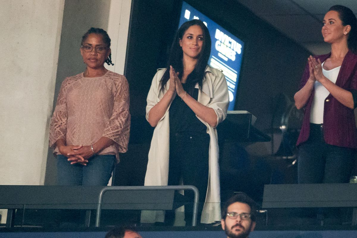 Meghan Markle and her mother Doria Ragland (left) watch the closing ceremonies for the Invictus Games in Toronto, Ontario on September 30, 2017.