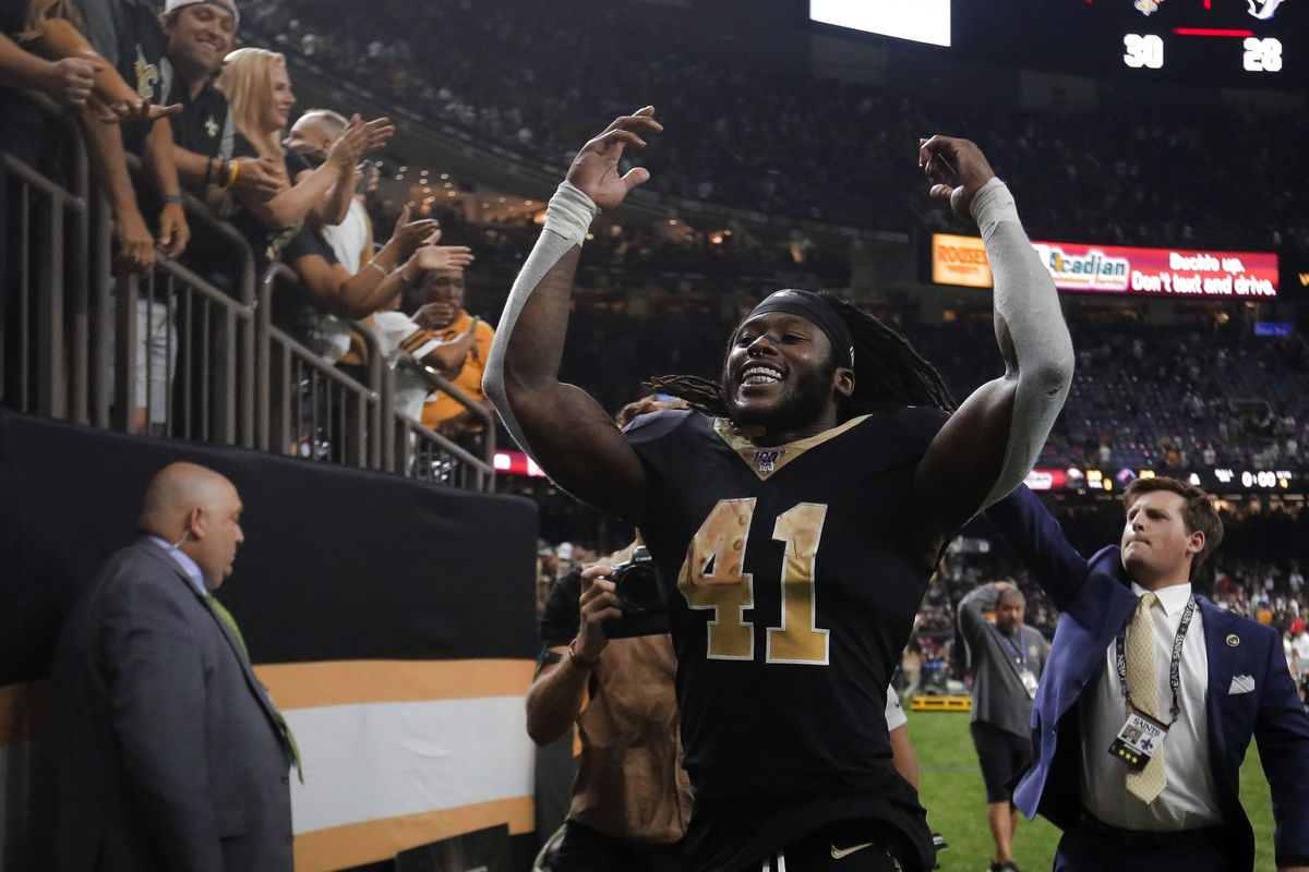 New Orleans Saints running back Alvin Kamara celebrates after a win against the Houston Texans during the second half at the Mercedes-Benz Superdome.