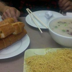 The Chinese donut on the left and then jook and alkaline noodles at right