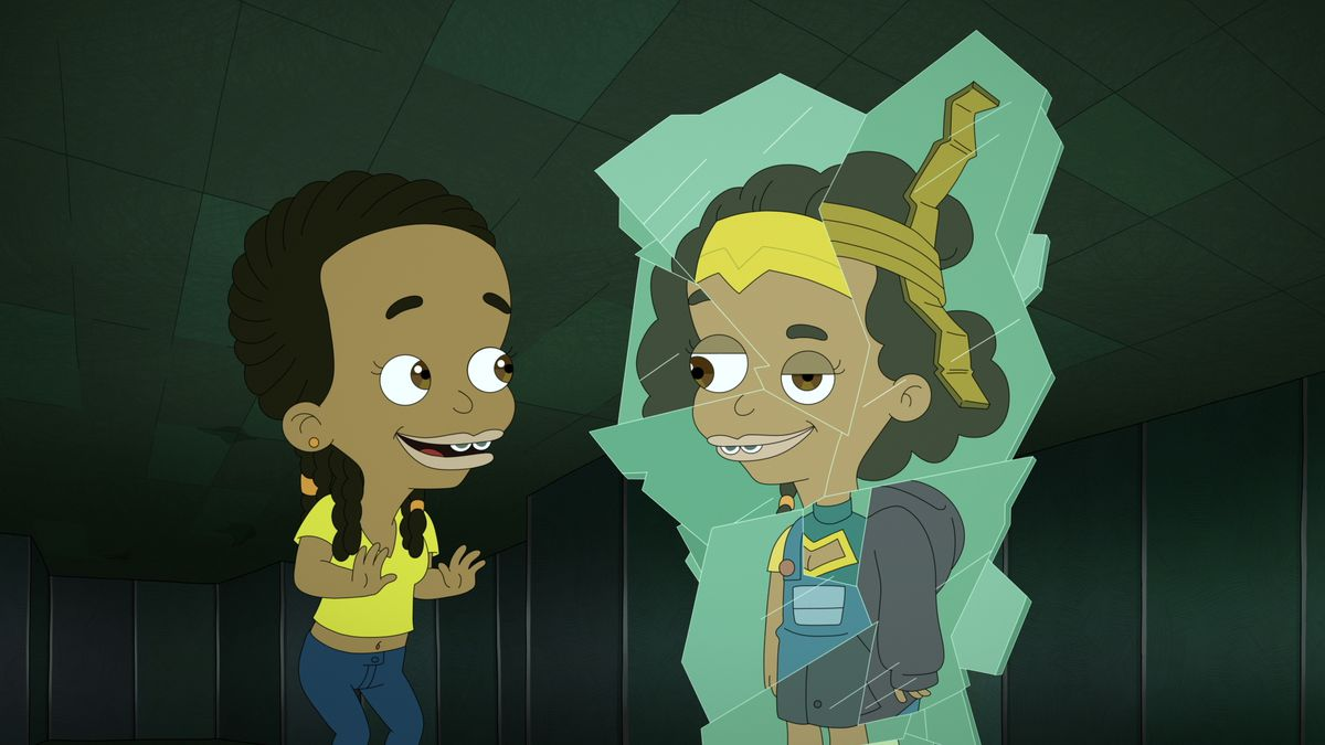 Biracial teen Missy confronts a warped, cracked mirror image of herself in season 4 of Big Mouth