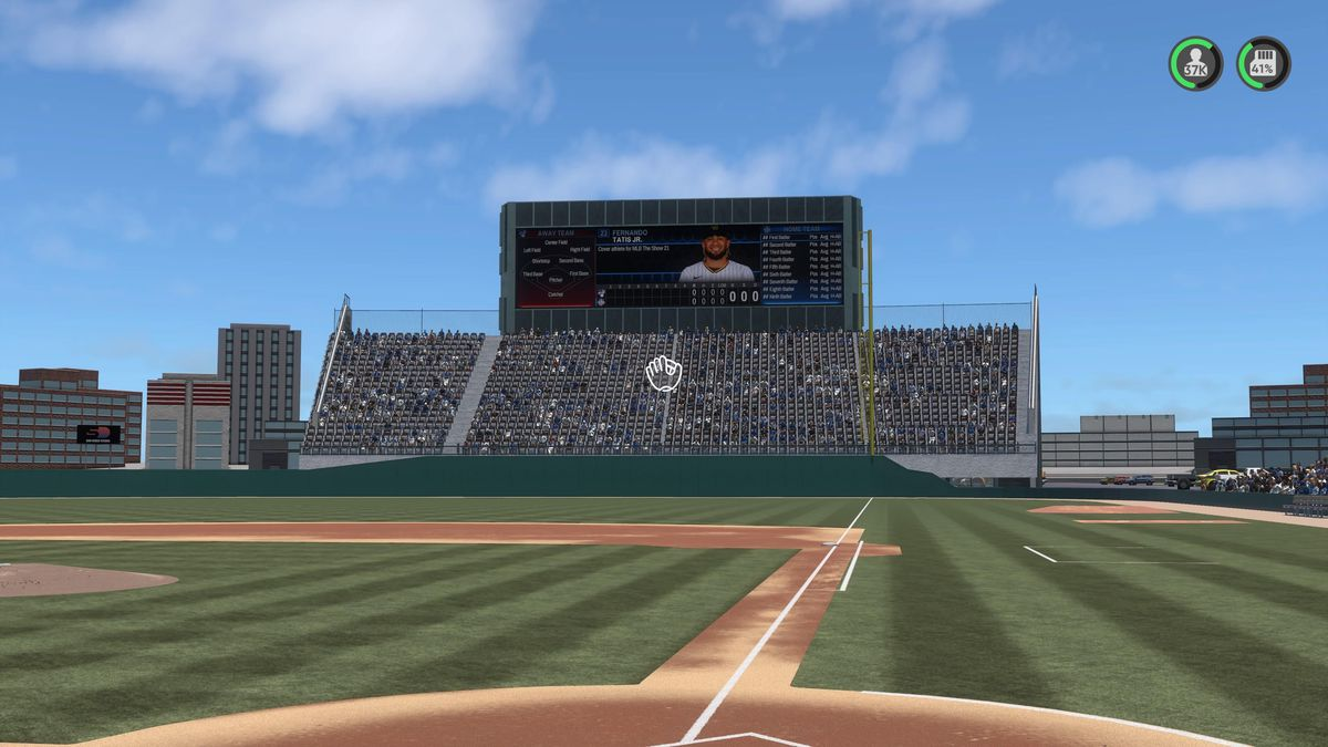Right field and the stands behind it in Mile High Stadium, as recreated by a player of MLB The Show 21