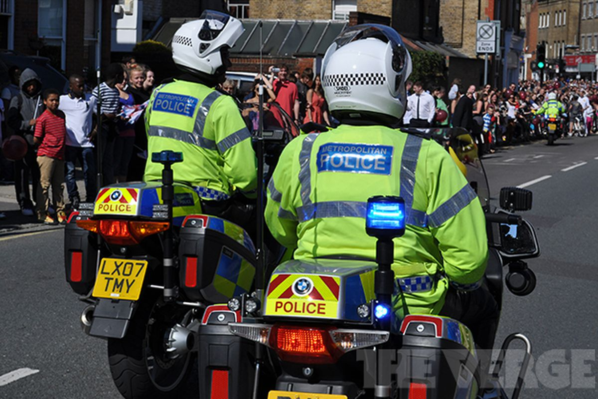London 2012 Olympics police bike stock