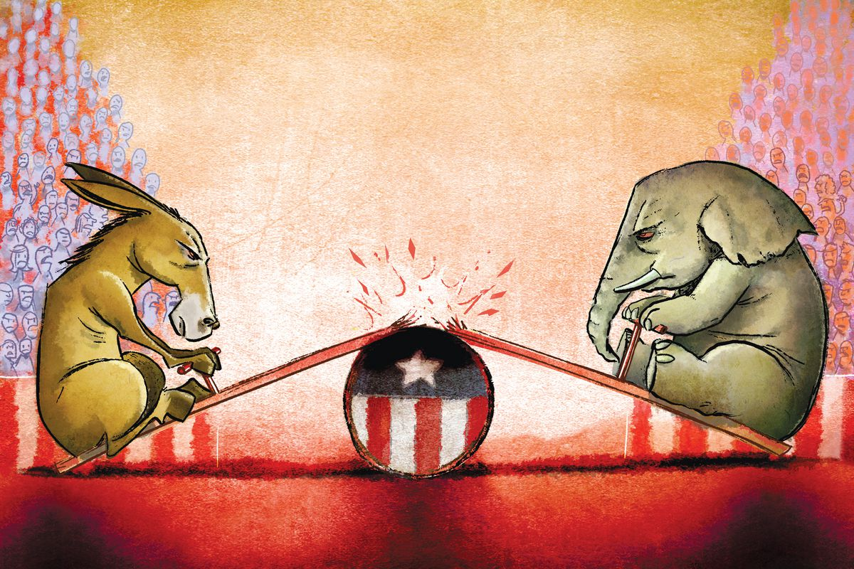 An illustration of a donkey and elephant representing the Republican and Democratic parties on a broken see-saw.