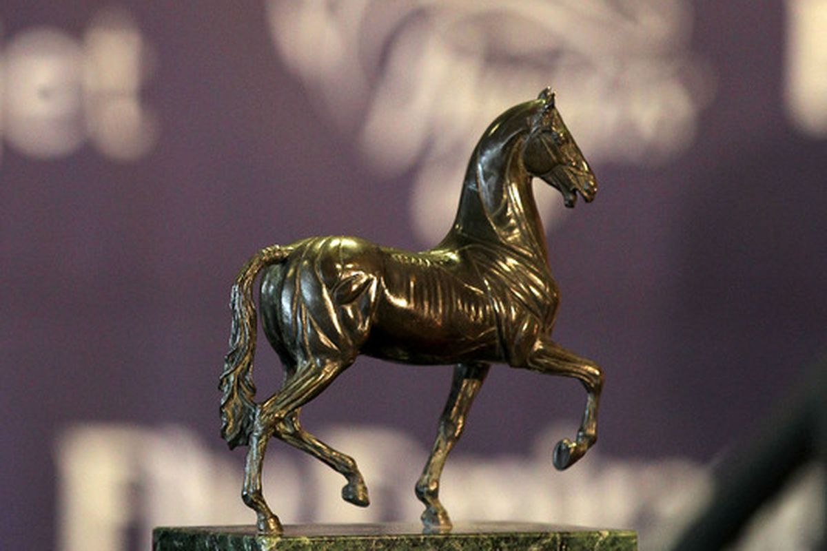 LOUISVILLE, KY - OCTOBER 31:  The Breeder's Cup trophy is on display at the 2011 Breeders Cup Post Position Draw at Churchill Downs on October 31st, 2011 in Louisville, Kentucky.  (Photo by Andy Lyons/Getty Images)