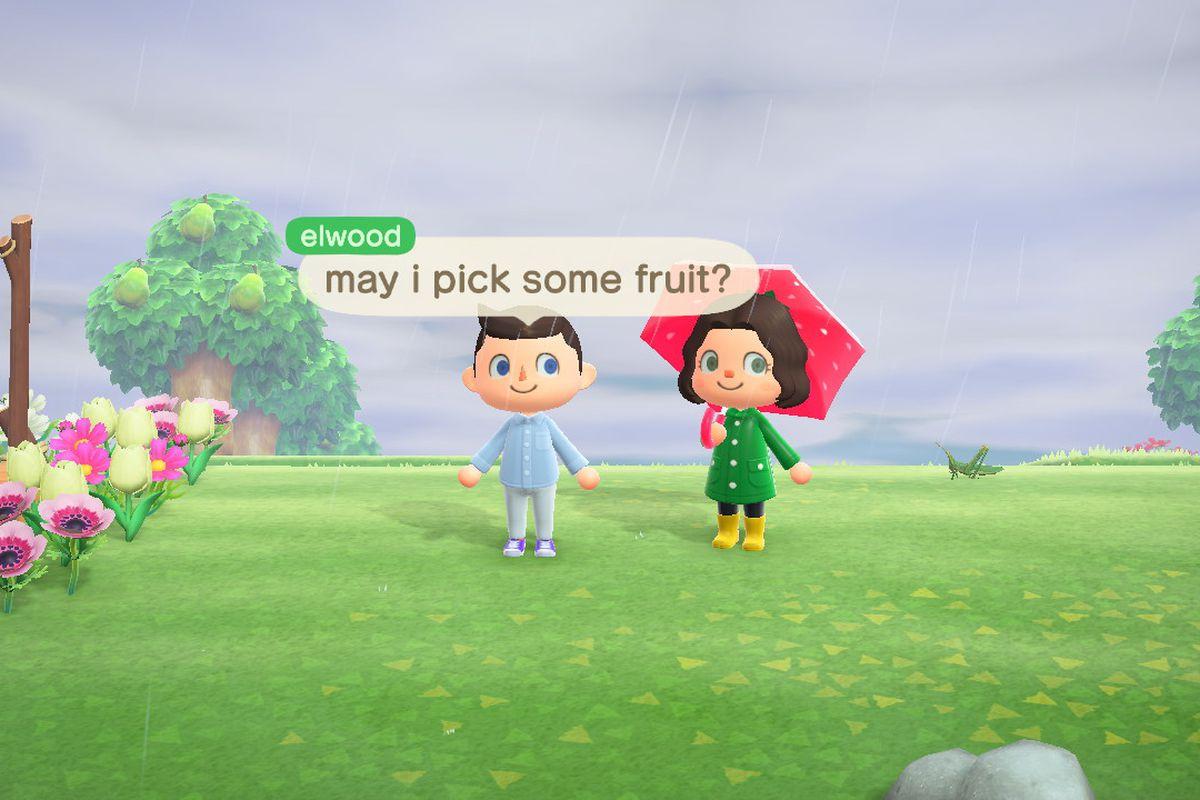 Elijah Wood asking an Animal Crossing player for some fruit