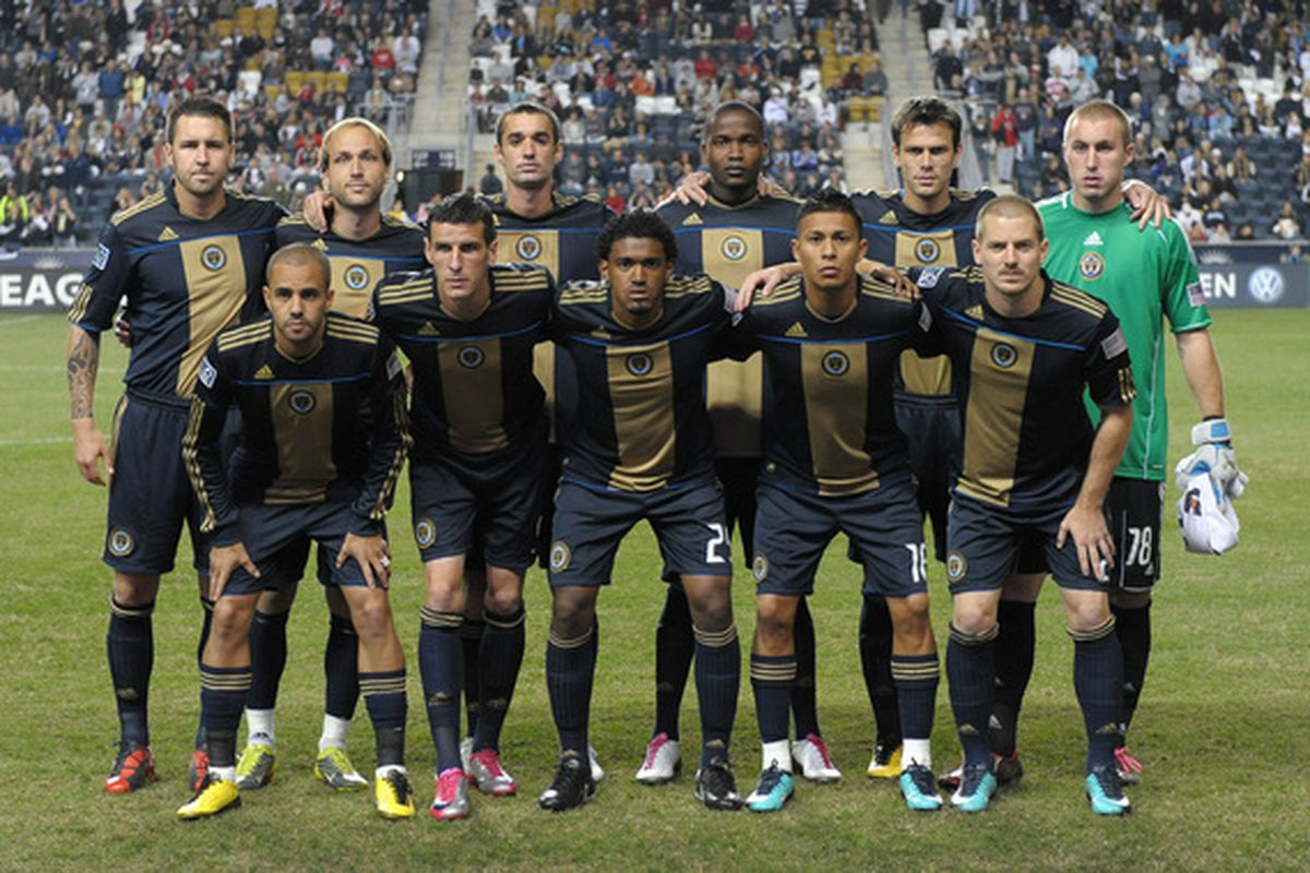 CHESTER PA - OCTOBER 07:  The Philadelphia Union pose for a photograph before the game against the Los Angeles Galaxy  at PPL Park on October 7 2010  in Chester Pennsylvania. The Galaxy won 1-0. (Photo by Drew Hallowell/Getty Images)
