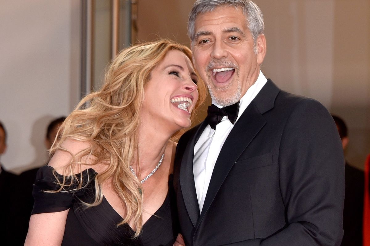 CANNES, FRANCE - MAY 12:  Actors Julia Roberts and George Clooney attend the 'Money Monster' premiere during the 69th annual Cannes Film Festival at the Palais des Festivals on May 12, 2016 in Cannes, France.  (Photo by Clemens Bilan/Getty Images)