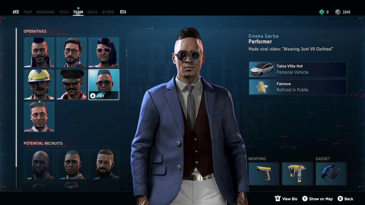 Screenshot of the team screen in Watch Dogs Legion showing an operative named Emeka Garba, weaing a blue blazer and navy vest over white pants.